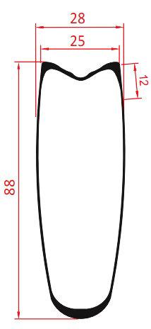 88mm tubular carbon rim