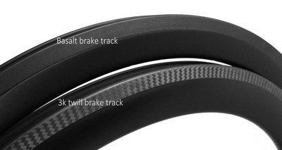 carbon rim with basalt & 3k twill brake track